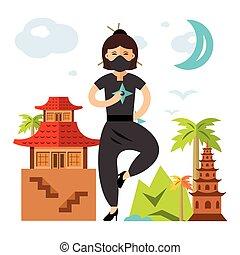 套間, 風格, illustration., 鮮艷, girl., 矢量, ninja, 卡通