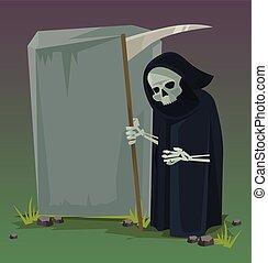 套間, death., 矢量, 卡通, 天使