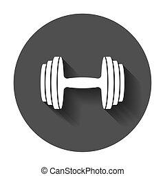 套間, dumbbell, concept., 插圖, barbell, shadow., 長, 健身, bodybuilding, 運動, style., 體操