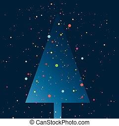 套間, lights., 樹, 下雪薄片, 簡單地, 落下, 聖誕節, night., design.