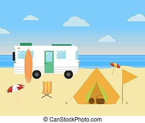 套間, rv, 露營, 海灘, 葡萄酒, concept., motorhome, 旅行車, holiday., 矢量...