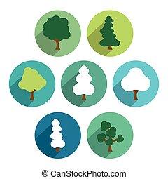 套間, set., 樹, pictograms., 簡單地, 綠色, 環繞, 圖象
