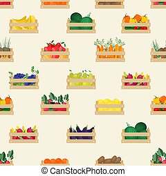 套間, wallpaper., 自然, 鮮艷, crates., 食物, 圖案, 蔬菜, seamless, 插圖, 背景。, 箱子, 矢量, 背景, 水果, 收集, 有机, 白色, 庄稼, 卡通, 木制