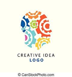套间头, 齿轮, 色彩丰富, 人们, 思想, 摘要, 隔离, 机制, 想法, 形状, 矢量, 人类, template., 标识语, 白色, 创造性, concept.