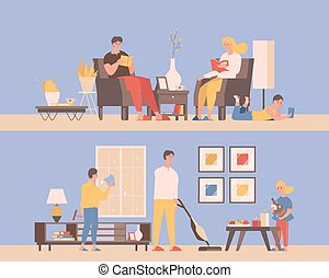 套间, 书, 打扫, 阅读, 矢量, 人, 开支, 时间, illustration., apartments., 妇女, 一起, 家