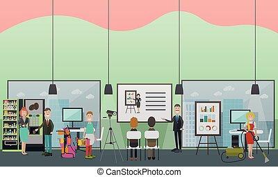 套间, 办公室, 描述, 矢量, 打扫, 服务, 专业人员