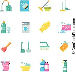 套间, 图标, 家庭, 隔离, 矢量, 打扫, 服务, 家, 工具