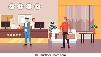 套间, 图表, bags., 客人, concept., 旅馆, 性格, 隔离, 描述, 矢量, 设计, 招待会, 携带, 人, 搬运工, 图标
