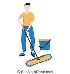 套间, 地板, 扫荡, 他, 其次, 水, 背景。, vector., bucket., 白色, 洗涤, 作品, 人