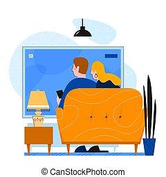 套间, 夫妇, 矢量, 家庭, 一起, 描述, 电视