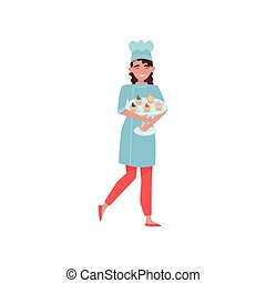套间, 妇女握住, cupcakes., 面包师, 制服, 快乐, 玻璃, 矢量, 设计, 站, 美味, hat., 蛋糕