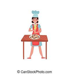 套间, 妇女, 工作, donuts, 面包师, 甜食师傅, 矢量, 设计, 糕点, 装饰, bag., 或者, uniform.