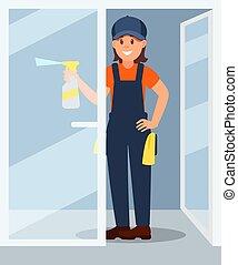 套间, 妇女, 工作, work., 玻璃, door., 年轻, 塑料, 洗涤剂, 喷洒, 矢量, 设计, 瓶子, 专业人员, 微笑女孩, uniform.