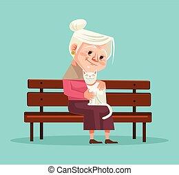 套间, 妇女, 老, 坐, 性格, 描述, 猫, 矢量, bench., 握住, 卡通漫画