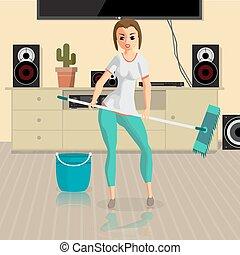 套间, 妇女, work., 地板, room., 扫荡, 国内, 年轻, 家庭主妇, 矢量, 描述, 女孩, 洗涤, 卡通漫画