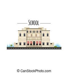 套间, 学校, illustration., architecture., 房子, 隔离, 矢量, white., 前面, 建筑物。, style., 察看