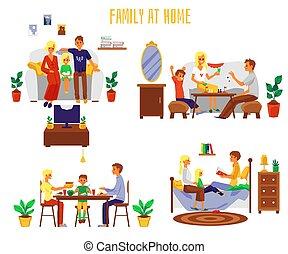 套间, 家庭, 图解, 一起, 开支, 时间, isolated., 矢量, 家, 放置