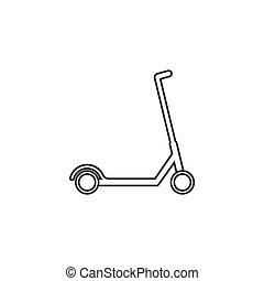 套间, 小摩托车, 运输, 描述, 矢量, icon., design.