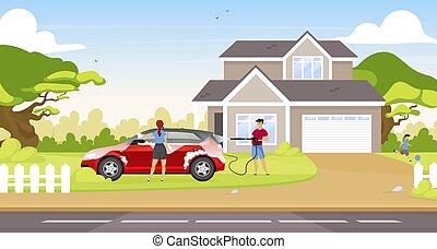 套间, 性格, illustration., 洗涤, 2d, hatchback, 在户外, 汽车, 卡通漫画, 家庭, 孩子, 一起, 房子清洁, 矢量, 夫妇, 国家, 背景。, 人们颜色, 开心