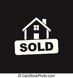 套间, 房子, 出售, 描述, 矢量, 黑色的背景, 标志。