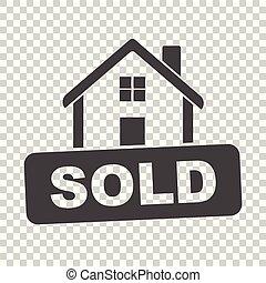 套间, 房子, 出售, 隔离, 描述, 矢量, 背景, 标志。