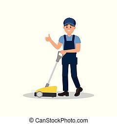 。, 套间, 拇指, 工作, 地板, 擦洗, 显示, 年轻, 机器, 矢量, 设计, 打扫, 微笑, 家伙, uniform., 人