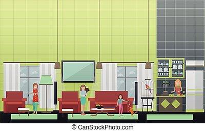 套间, 描述, 矢量, 打扫, 专业人员, 服务, 家
