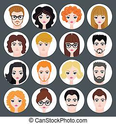套间, 放置, 现代, 女孩, avatars, 矢量, 设计, 时尚, 家伙