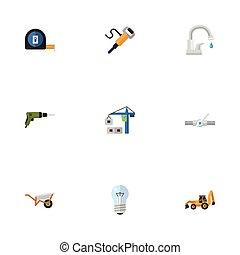 套间, 放置, 电, elements., 图标, objects., 螺丝刀, 包括, 符号, 同时, 矢量, 措施, 气动, 建设, 其它, 灯泡