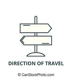 套间, 方向, 概念, outline, 签署, 旅行, 描述, 符号, vector., 图标, 线
