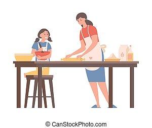 套间, 晚餐, kitchen., 家庭, 矢量, 女儿, 时间, illustration., 一起, 妈妈, 烹调