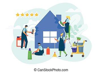 套间, 服务, 打扫, 工作, 卡通漫画, 家, 清洁工, 工作, 房子, 矢量, 卫生学, 持家, illustration., 国内, concept.