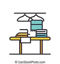 套间, 概念, 服务, 描述, 隔离, 矢量, 打扫, 线, 图标