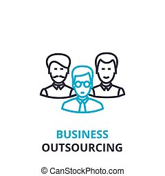 套间, 概念, outline, 商业征候, pictogram, outsourcing, 描述, 矢量, 稀薄, 图标, 线, 标识语, 线性