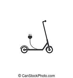 套间, 电, 描述, 小摩托车, 矢量, icon., design.