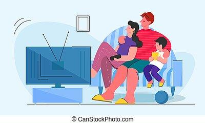 套间, 矢量, 家庭, 观看, 一起, 描述, 电视
