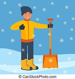套间, 铁锨, 冬季, snowflakes., 大, 雪, snow., 开始, 矢量, 设计, 打扫, illustration., 落下, 人, style., 风景, 开心