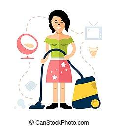 套间, 风格, 妇女, illustration., 色彩丰富, 年轻, 矢量, cleaner., 打扫, 真空, 卡通漫画