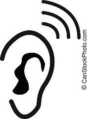 套间, app, 听力, ui., 白色, style., 网, 黑色, 图标, 设计, 背景。, 站点, 样板, 符号。, 标识语, 耳朵, 你, 标志。