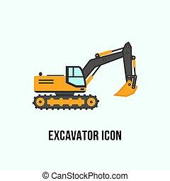 套间, excavator, 描述, 设备, 建设, style., 图标