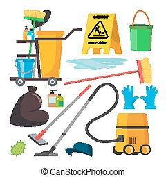 套间, illustration., set., 真空, 商业, 隔离, 设备, 提供, cleaner., 打扫, vector., 车, 专业人员