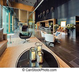 奢侈, 私人, 休息室, 在中, a, 旅馆, 入口, 同时,, 招待会