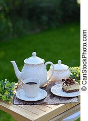 奢侈, french, 早餐, 服务, 在花园