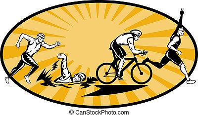 奧林匹克, triathlon, 運動員, 游泳, bik, 跑