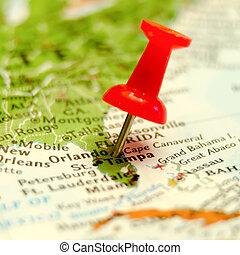 奧蘭多, 城市, 別針, 上, the, 地圖