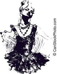 女の子のダンサー, イラスト