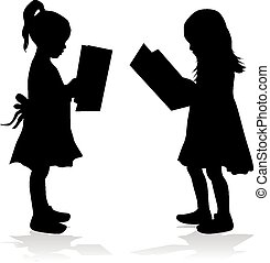 女の子の読書, シルエット, book.
