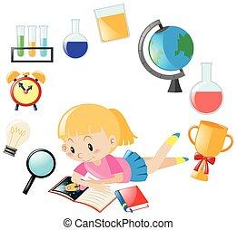 女の子の読書, 本, そして, 別, オブジェクト, ∥ために∥, 学校