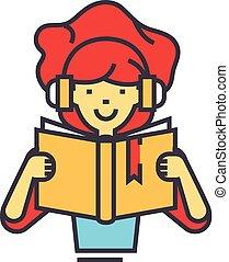 女の子の読書, 本, 中に, ヘッドホン, concept., 線, ベクトル, icon., editable, stroke., 平ら, 線である, イラスト, 隔離された, 白, 背景