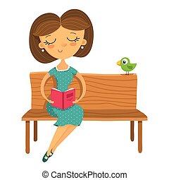 女の子の読書, 若い, ベンチ